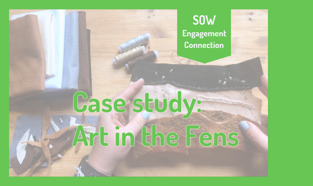 """Image reads """"Case Study: Art in the Fens"""". In the background is a screenshot of two craft workshops sessions by Kaitlin Ferguson."""