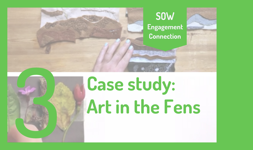 "Image reads ""3. Case Study: Art in the Fens"". In the background is a screenshot of two craft workshops sessions by Kaitlin Ferguson."
