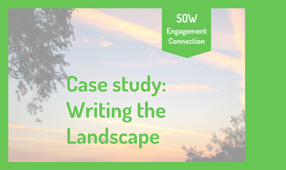 """Image reads """"Case Study: Writing the Landscape"""". In the background is a photograph if an evening sky with the silhouettes of trees in Fenland."""