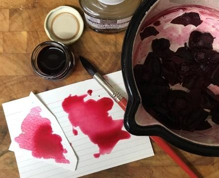 Marian experimenting with beetroot ink.